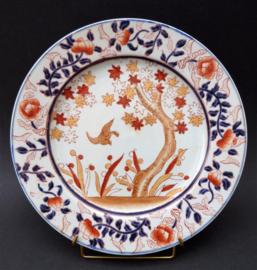 Japans Imari porseleinen bord met bloesem en vogel