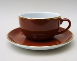 Mitterteich cappuccino kop en schotel in bruin met goud