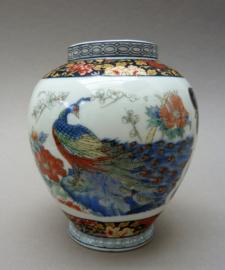 Vintage Japans porseleinen vaasje met pauw