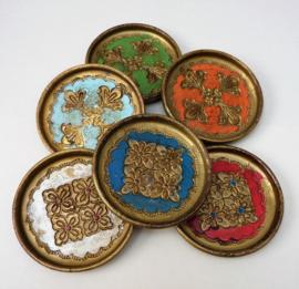 Venetiaanse houten glas onderzetter diverse kleuren - set van vijf