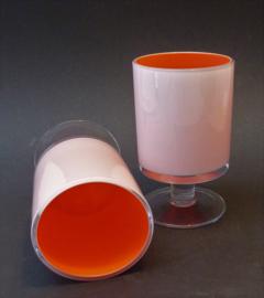 Mid Century oranje wit cocktailglas - set van twee