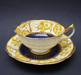 Paragon Art Deco handbeschilderde porseleinen kop en schotel