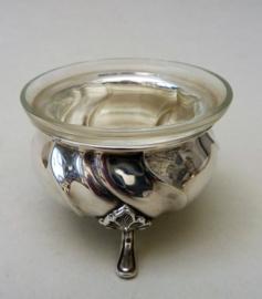 Kristallen glazen verzilverd zoutvat