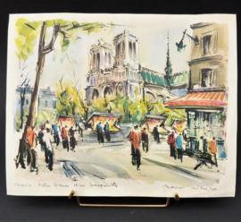 Marius Girard prent straatgezicht jaren 50 Parijs Notre Dame et les bouquinistes