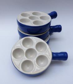 Emile Henry escargots ovenschaal 6 gaats - blauw wit