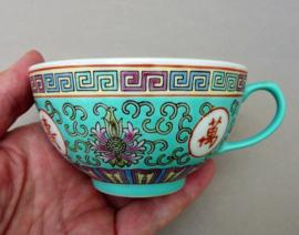 Chinese 1980 turquoise porseleinen Mun Shou Longevity theekop