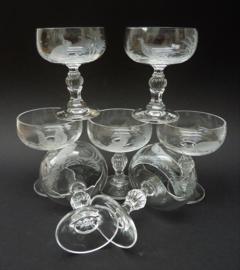 Kristallen likeur coupes met geetst jachtdecor Klingenbrunn Kristallglas