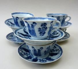 Blauw wit porseleinen Lange Lijs mokkakopje met schotel - set van zes