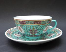 Chinese 1980 turquoise porseleinen Mun Shou Longevity kop en schotel