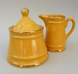 Delaunay bistroware porseleinen roomstel in geel met gouden rand