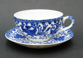 Japanse Arita blauw wit porseleinen Phoenix kop en schotel