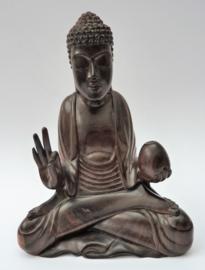 Vintage Balinese handgesneden houten Vitarka Mudra Buddha