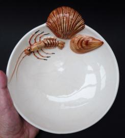 Bassano diep bord met schaaldier decoratie