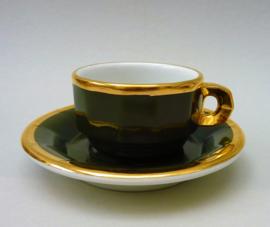 Pillivuyt cappuccino kop en schotel in groen met goud
