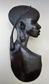 Grote ebbenhouten wandsculptuur Afrikaanse vrouw