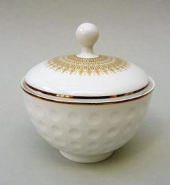 Arzberg Heinrich Loffelhardt vorm 2375 Golfbal suikerpot met deksel in wit met goud
