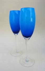 Murano blauw champagne prosecco flute glas