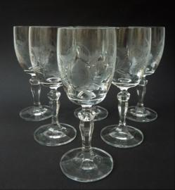 Kristallen wijnglas met bloem gravure - set van zes