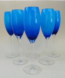 Murano blauwe champagne prosecco flutes