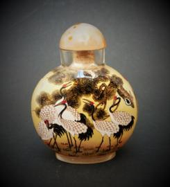Vintage Chinees glazen snuifflesje met onderglasbeschildering