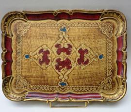 Venetiaans dienblad in rood goud en blauw