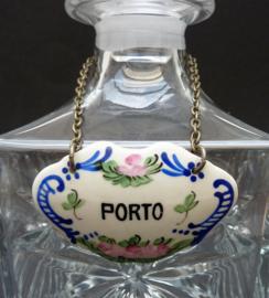 Antiek Frans porseleinen Port karaf label