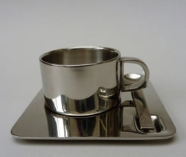 RVS dubbelwandige espressokop en schotel met lepeltje