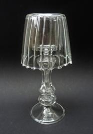 Des Pots glazen waxinelichthouder met lampenkap