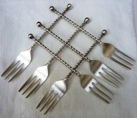Zilverstad verzilverde Stijlappel getorste steel taartvorkjes