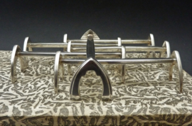 Antieke Gero 90 verzilverde messenlegger model Puntfilet - set van zes