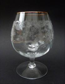 Mid Century kristallen cognac glas met gouden rand