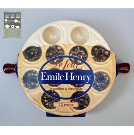 Emile Henry escargots ovenschaal 12 gaats - kastanjebruin off white
