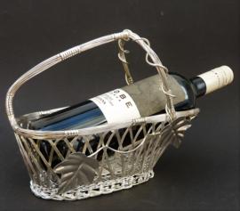 Verzilverde gevlochten wijnflesmand