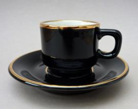 Delaunay espresso kop en schotel in zwart met goud