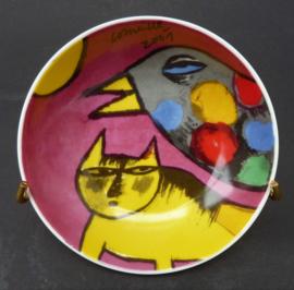 Corneille 2001 Gele Kat en Vogel met stippen schaaltje
