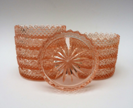 Glas onderzetter roze depression glass - set van tien