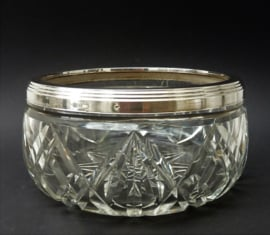 Art Deco kristallen schaal met zilveren montuur W Burger Haarlem