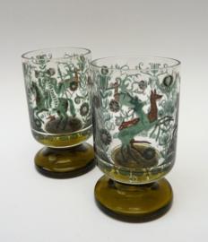 Scandinavisch shotglas met folklore decoratie - set van twee