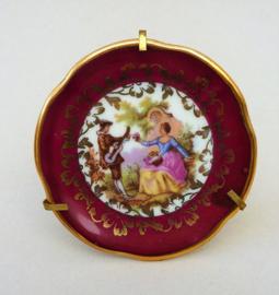 Limoges miniatuur sierbord met houder in Fragonard stijl