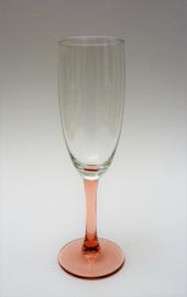 Luminarc  France Rose prosecco glas op lichtroze voet