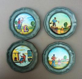 Glas onderzetter set tin met keramieken inleg Boerenleven - set van vier
