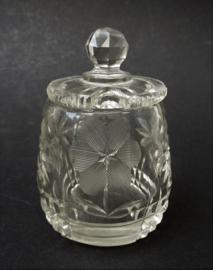 Antieke American Brilliant Period geslepen glazen mosterdpot