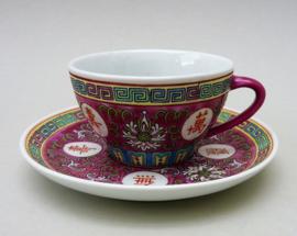 Chinese roze porseleinen Mun Shou Longevity kop en schotel