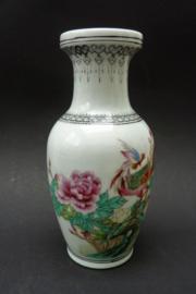 Chinese Jingdezhen porseleinen PROC vaas met bloemen pauw en kalligrafie