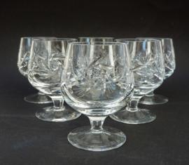 Boheems loodkristallen geslepen brandy cognac glas - set van zes
