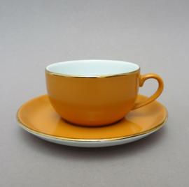Mitterteich cappuccino kop en schotel in okergeel met goud