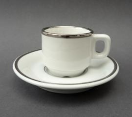Delaunay bistroware espresso kop en schotel wit met zilver