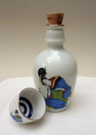 Japanse porseleinen Geisha sake fles met kommetje