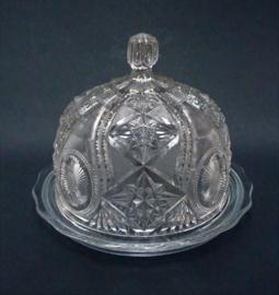 Antieke American Brilliant cut glass boterstolp met onderbord