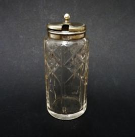 Antieke Engelse glazen mosterdpot met hotelzilveren deksel